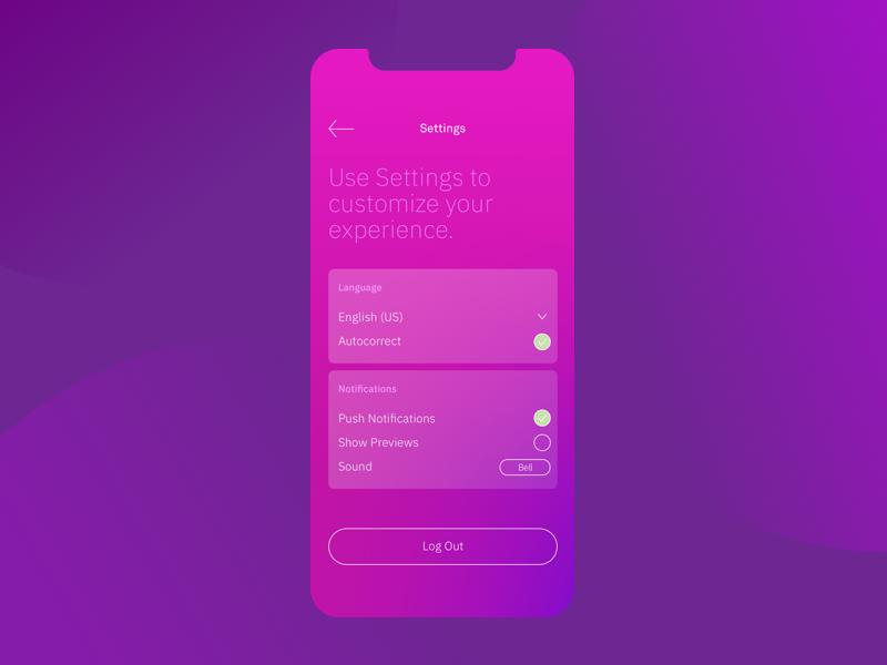 Settings mobile screen settings daily ui ui