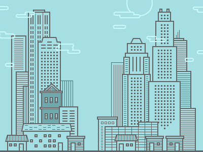 City Illustration line drawing line illustration illustration city blue line app design app login