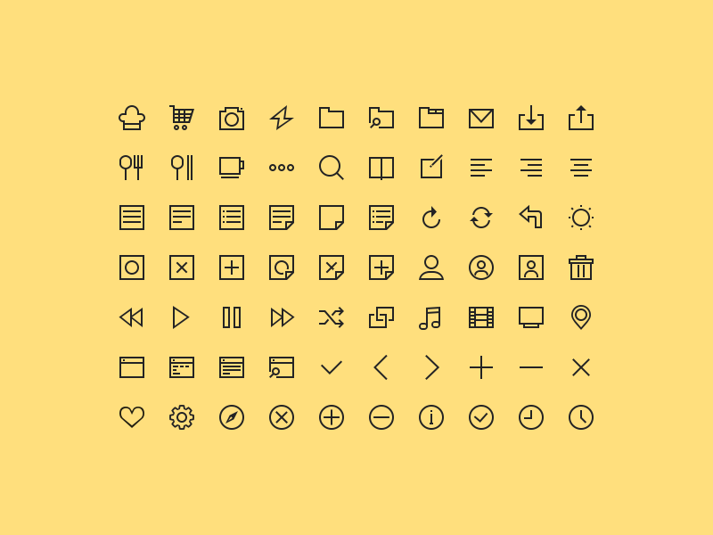 70 simple icons free psd