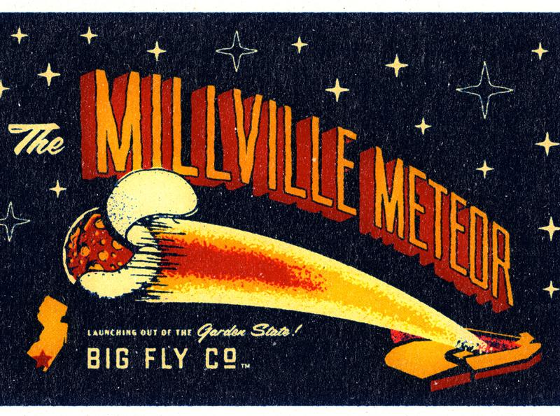 The Milllville Meteor Tee mockup illustration texture angels baseball mike trout illustrations rocket meteor new jersey typography apparel retro baseball vintage