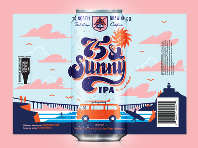 32 North 75 & Sunny bright fun label illustration beer can beer label print mockup beer type typography vintage retro illustration