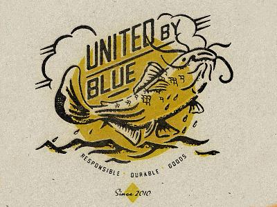 United By Blue Mens Spring 2020 catfish fish fishing texture typography vintage retro illustration