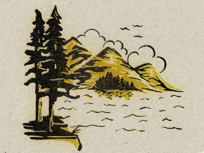 United By Blue Mens Back 2020 mountains water trees mockup texture vintage retro illustration