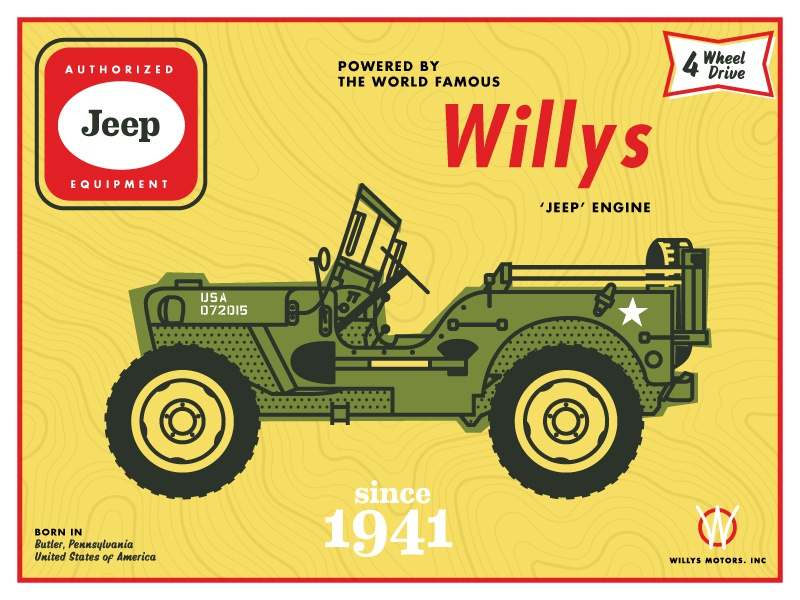Jeep Willys 4wheeldrive offroad car illustration willys jeep