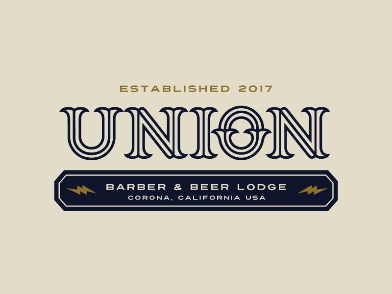 UBBL Union Barber & Beer Lodge barber logo plainjoe established logotype monoline idenity lightingbolt branding beer