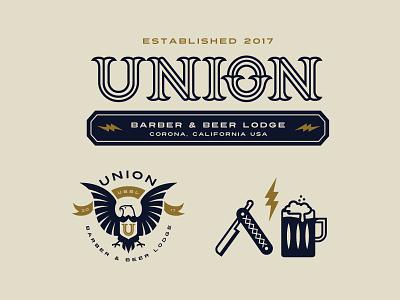 UBBL Union Barber & Beer Lodge 2 badge eaglelogo plainjoe monoline logotype lightingbolt idenity established branding beer logo barber