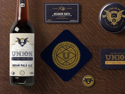 UBBL Union Barber & Beer Application plainjoe monoline logotype logo lightingbolt idenity established eaglelogo branding beer barber badge