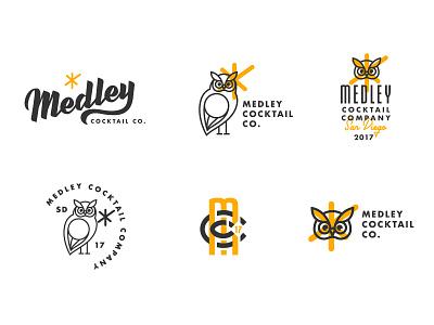 Medley Cocktail Co. Logo Itterations retro owl orange overlay logodesign logo cocktail brushscript branding