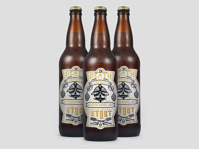 Death Of A Brewer 22oz Beer Label brewery 32north banner illustration skull brewer mockup gold label beer