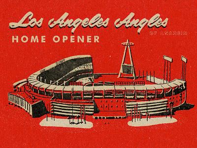 Angels Home Opener 2018 red illustration matchbook 1960 losangeles midcentury modern halo angelsbaseball baseball angels