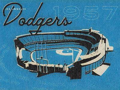Dodgers Stadium Illustration pastime blue modern midcentury matchbook losangeles illustration halo baseball dodgersbaseball dodgers 1957