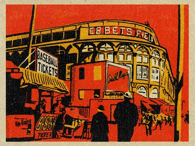 Ebbets Field Illustration ballpark pastime america warm ebbetsfield illustration matchbook retro vintage baseball
