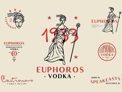 Unused Euphoros Branding speakeasy alcohol branding alcohol vodka typography vintage prohibtion goddess logodesign logo branding