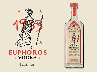 Unused Euphoros Branding 2 label prohibition vintage speakeasy alcohol branding alcohol vodka illustration goddess labeldesign packaging branding