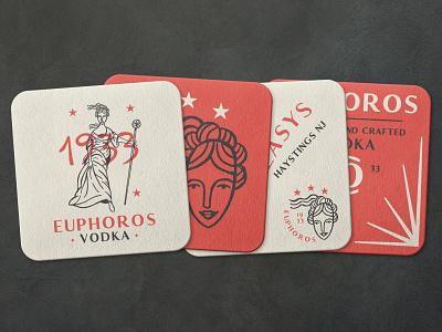 Unused Euphoros Branding 3 prohibition goddess illustration mockup coasters alcohol branding alcohol vodka logo design logo brand branding