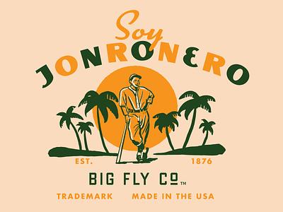 Big Fly en Espanol -  Jonronero tropical palmtrees besbol spanish retro baseball bat illustration vintage baseball