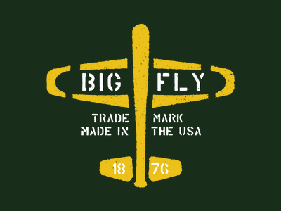 Big Fly Brigade family support stencil flying retro plane bat baseball bat badge vintage baseball military