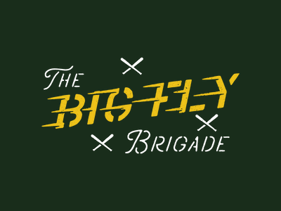 Bigl Fly Brigade Cont. retro movement fast typography stencil baseball bats baseball brigade military support family