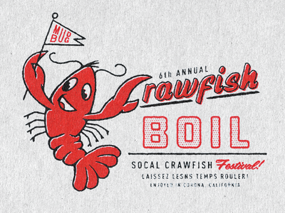 Crawfish Boil Tee halftone illustration mud bug festival shirtdesign character design louisiana crawfish crawfish boil