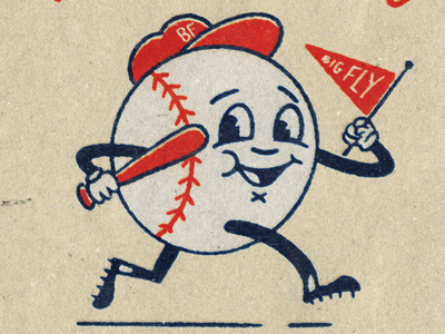 Big Fly Opening Day Giveaway illustration cleats pennant baseball bat opening day happy giveaway characer retro vintage baseball mascot