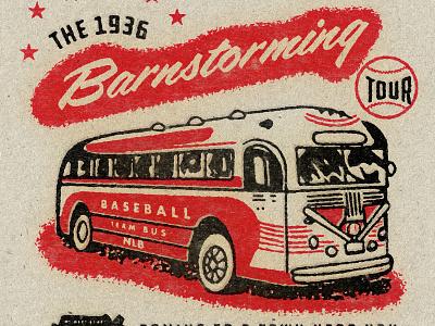 Barnstorming Negro League Baseball Tee negro league baseball branstorming african american bus vector art vintage bus vintage baseball vector shirt design type baseball texture typography vintage retro illustration