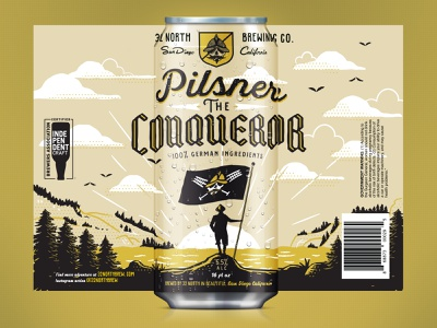 Pilsner The Conqueror Can Design alcohol packaging design vector print typography retro supply co label packaging label design beer design beer illustration