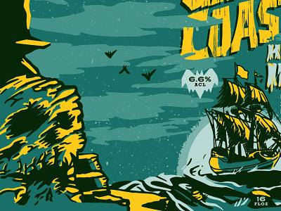 GhostCoast Artwork Preview sneak peek label design spooky retro vintage illustration packagedesign beer