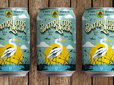 32N Baitquitos Lagoon Collab san diego colaboration typography type mockup packaging crane illustration beer label beer