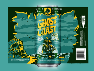 Ghost Coast Hazy IPA ocean sea mockup bats skull ship procreate hand lettering packaging spooky halloween vector beer type texture typography vintage illustration