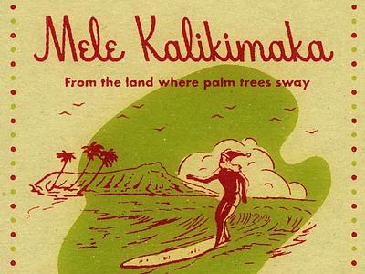 Mele Kalikimaka Illustration surfing santa retro hawaii hawaii surfing retro christmas vintage christmas christmas typography vintage retro illustraion