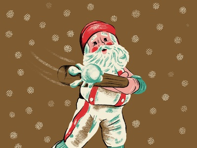 Swingin' Saint Nick santa baseball snow santa procreate baseball texture vintage retro illustration