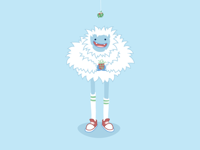 Yancy the Yuletide Yeti holiday yeti mistletoe