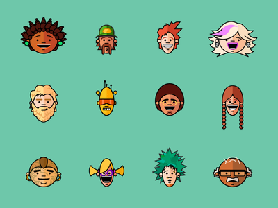 Faces characters illustration people face