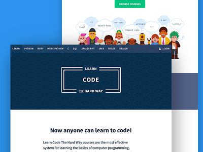 Learn Code the Hard Way pattern illustration marketing site