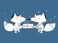 Christmas Foxies - Colored!