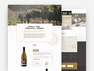 Craftsmen Wines texture vineyard wine onepage webdesign web ux ui website
