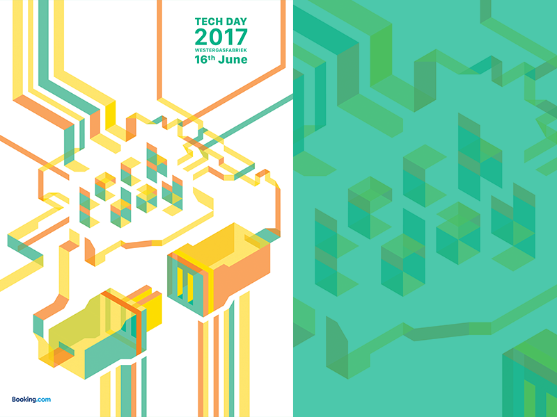 Tech Day 2017 for Booking.com typography isometric graphic design conference design branding