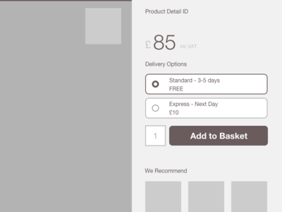 Product Page - Fixed Right Pane with Delivery Options product page delivery options prototype wireframe ecommerce