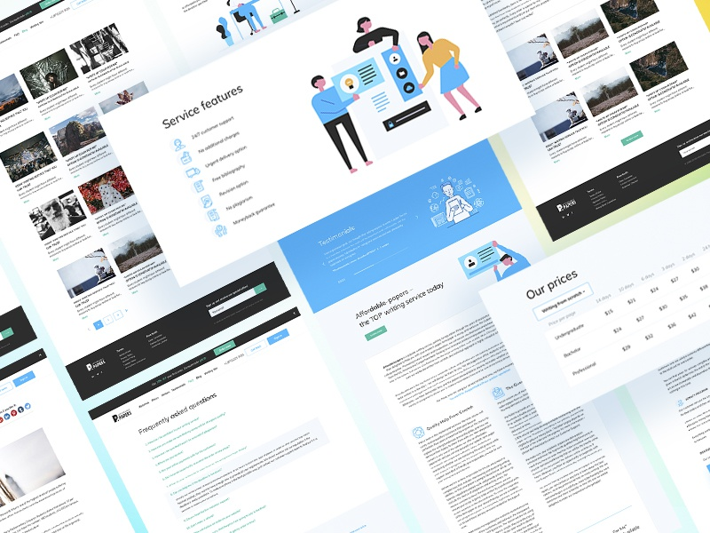 Web service about writing papers product design web site service interface clean pages minimal ui design ux design illustrations web service