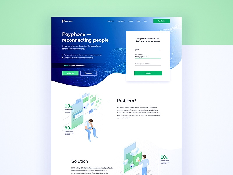 landing page for phone-call with blockchain technology web design tech landing tech ui design visual clean ui minimal clean call blockchain landing page landing
