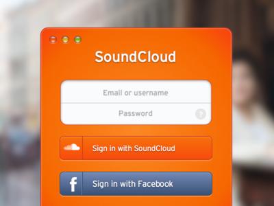 SoundCloud Sign In [.sketch] button freebie login os x sign in signin sketch soundcloud window