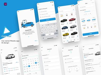 car rental app design ui ux design app