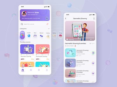 Hobbies Learning App UI Design hobby app design 3d uiux hobbies illustration minimal ios app ux design ui