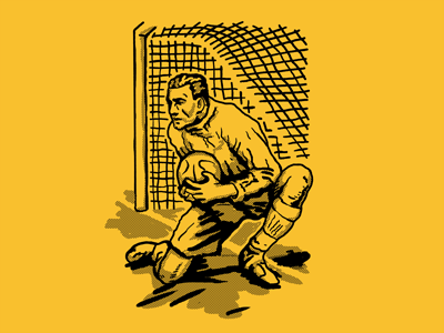 Goalkeeper halftone yellow drawing futebol golero portero goalkeeper futbol soccer football vintage illustration