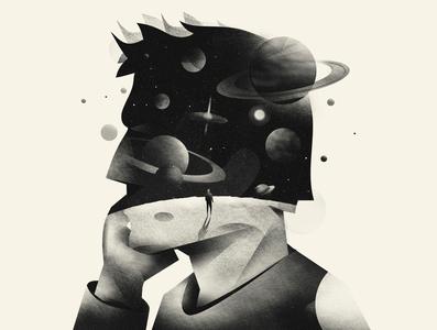 Illustration#1, Dylan Thomas night space planets surreal universe blackandwhite illustration