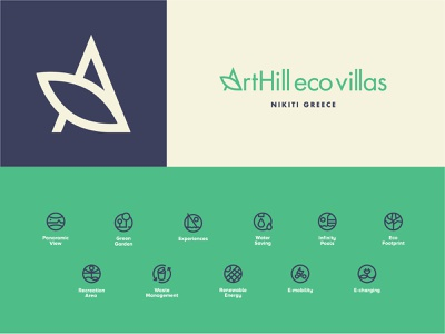 ArtHill Eco Villas nature greek branding logo green villas hotel summer sustainable eco greece