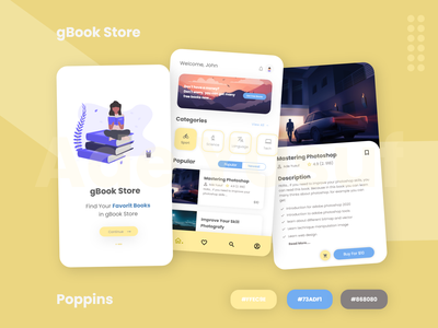gBook - UI UX Design Book Store Platform ui design ui  ux application app mobile apps ui book store book store