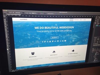 Flatpress #1 website wordpress premium template theme webdesign photoshop flat single page france one page web
