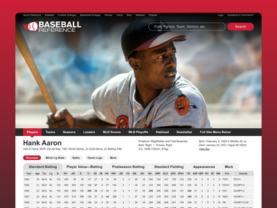 Baseball Reference Player Card Redesign Concept sports ui sports design sports user experience design user interface design user experience user interface baseball card baseball ux design ux ui design web design