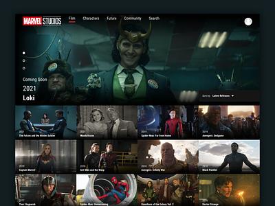 Marvel Studios MCU Streaming App Desktop Design Concept design movies app movie app streaming app mcu marvel studios marvel